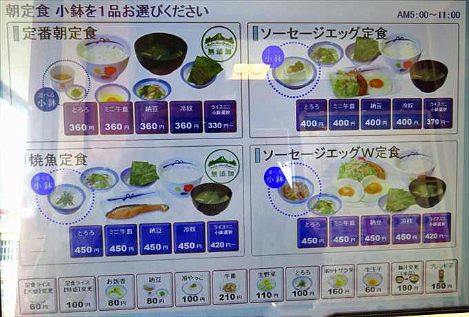 松屋の朝定食メニュー