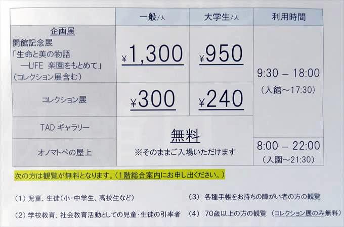富山県美術館の料金