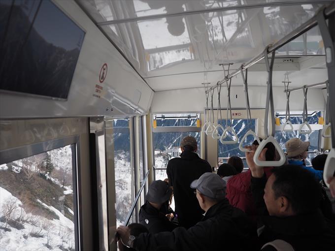 立山ロープウェイの客車内風景