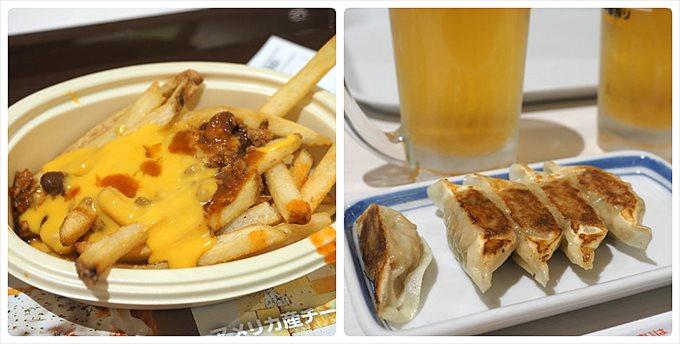 フードコートのポテトと餃子とビール