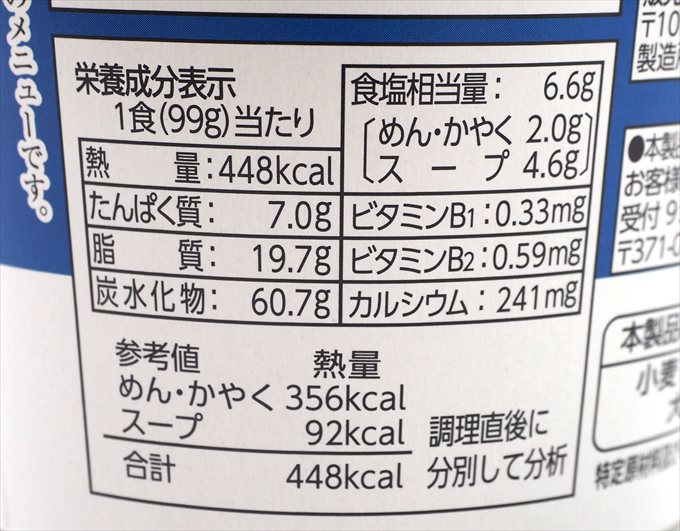 8番らーめんカップ麺のカロリー